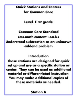 Quick Centers and Stations Common Core First Grade Math 1.oab4