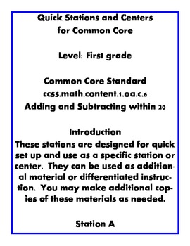 Quick Centers and Stations Common Core First Grade Math 1.oa.c.6