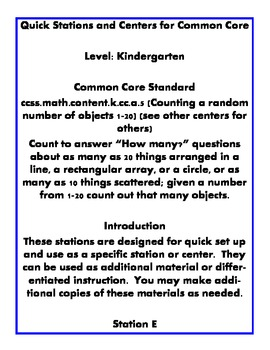 Quick Centers and Stations Kindergarten Math Common Core 5.CC.B.5 Station E