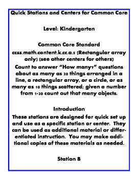 Quick Centers and Stations Kindergarten Math Common Core k.cc.b.5
