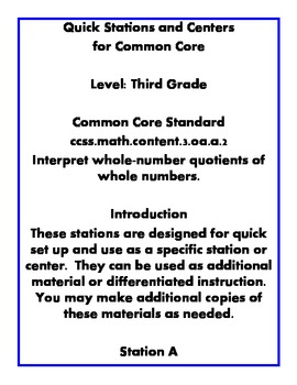 Quick Centers and Stations Math Common Core Third Grade 3.oa.a.2