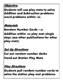 Quick Centers and Stations Second 2nd Grade Math word problem