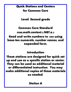 Quick Centers and Stations Second Grade Common Core Place Value
