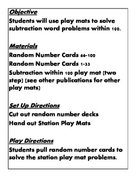Quick Centers and Stations Second Grade Math 2 step subtraction common core