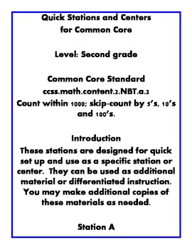 Quick Centers and Stations Second Grade Math Common Core Place Value