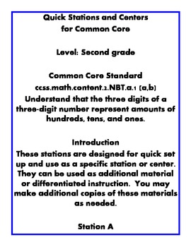 Quick Centers and Stations Second Grade Math Place Value Common Core 2.nbt.a.1