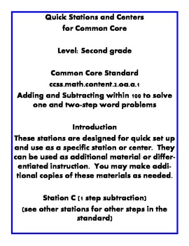 Quick Centers and Stations Second Grade Math word problem subtraction