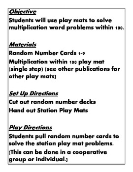 Quick Centers and Stations Third grade Math Common Core 3.oa.a.3