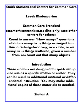 Quick Centers and Stations for Common Core Kindergarten Math k.cc.a.5