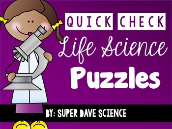 20 Quick Check Life Science Vocabulary Puzzles Formative Assessments
