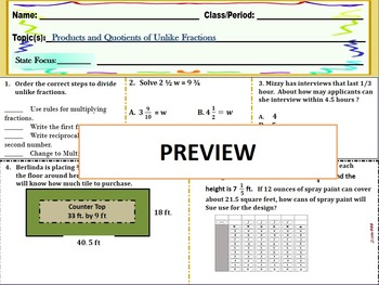 Quick Check-Products and Quotients of Unlike Fractions