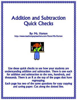 Quick Checks: Addition and Subtraction