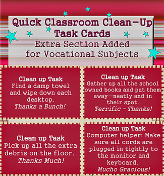 Classroom Clean-Up Task Cards > Bonus Vocational Cards + Sets in Color & B&W!