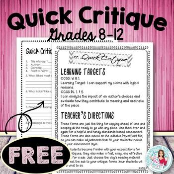 Quick Critique - Grades 7-12 English Language Arts - Free Sample of My Bundle