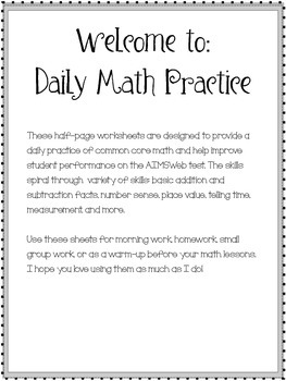 Daily Math Practice! 2nd Grade Sample