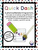 Quick Dash: Phonics and Handwriting Activity