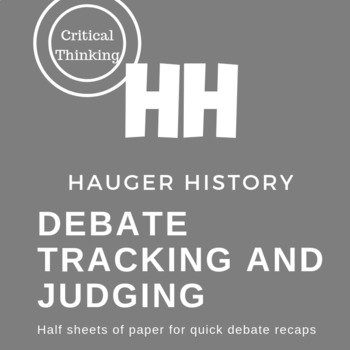 Quick Debate Tracking Form for Arguments Reasons Evidence and Judging