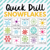 Quick Drill Winter Snow Day for speech therapy or any skill drill