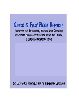 Quick & Easy Book Report Printables