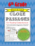 Quick & Easy CLOZE PASSAGES for Reading Comprehension and