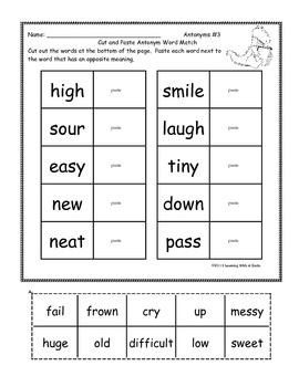 Synonyms, Antonyms, Nouns, Verbs, & More ~ Cut and Paste Activity