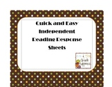 Quick & Easy Independent Reading Response Worksheets