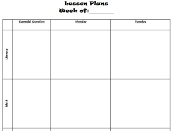 Quick & Easy Lesson Plan Template