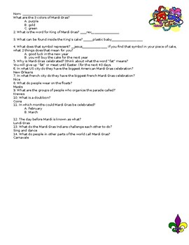 Quick Easy Mardi Gras Lesson and Worksheet