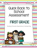 Quick FIrst Grade Back to School Assessment {Reading, Phon