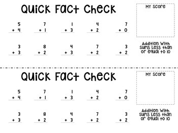 Quick Fact Checks - Addition Facts