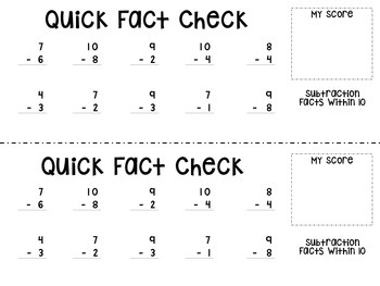 Quick Fact Checks - Subtraction Facts