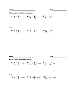 Quick Fractions Assessment Like and Unlike Denominators