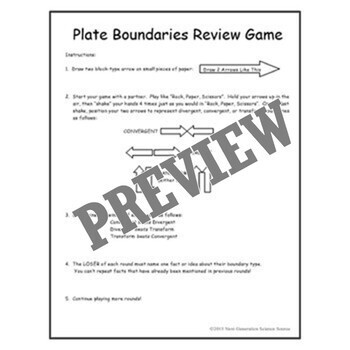 Quick & Fun Plate Boundary Types Review Game NGSS MS-ESS2-1 and MS-ESS2-2