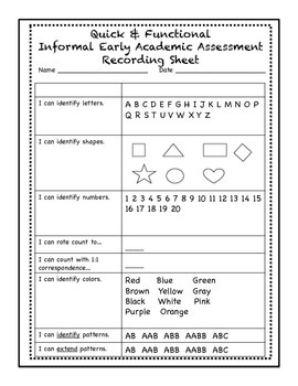 Quick & Functional  Informal Early Academic Assessment Recording Sheet
