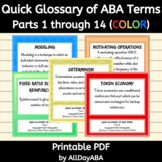 Quick Glossary of ABA Terms - Parts 1 through 14 - ABA Flash Cards - Color