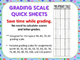 Quick Grade - Grading Scale Score Sheets -designed for 100, 90, 80, 70, 60 scale