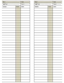 Quick Grade Sheet Assessment Grid