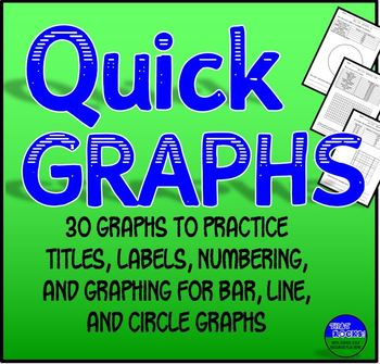 Graphing Practice:  30 Quick Graph Sheets for Bar, Line, & Pie Graphs