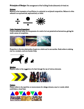 Elements of Art and Principles of Design: Quick Guide Handout