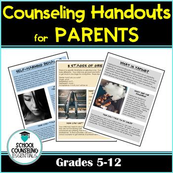 School Counselor handouts for parents (7 total!)