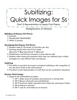 Quick Images for Multiplication and Division Facts Fluency: Goal 2 5s