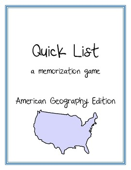 Quick List - American Geography Game