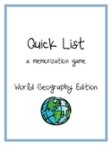 Quick List - World Geography Game