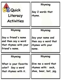 Quick Literacy Activities for Transitions