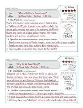 Quick Logs: Grades 4 to 5