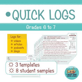Quick Logs: Grades 6 to 7