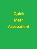 Quick Math Assessment