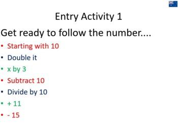 Quick Maths Starter/Entry Activities