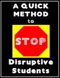 Quick Method to Stop Disruptive Student Behaviors- Classroom Management