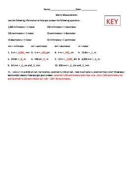 Quick Metric Measurements Quiz with Key